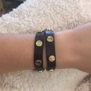 Tory Burch Double-Wrap Logo Stud Bracelet